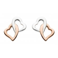 Rose Gold Plate Interlocking Heart Stud Earrings