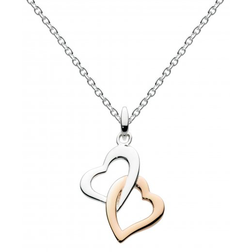 Dew Rose Gold Plate Interlocking Hearts Pendant