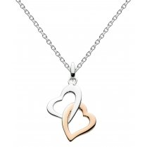 Rose Gold Plate Interlocking Hearts Pendant