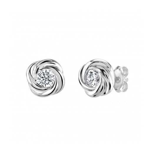 Dew Silver Knot Earrings With CZ