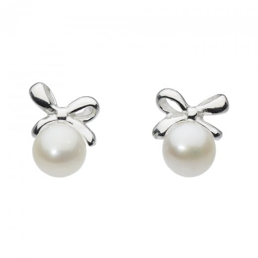 Dew Small Bow Freshwater Pearl Stud Earrings