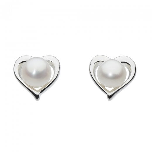 Dew Small Heart Freshwater Pearl Stud Earrings