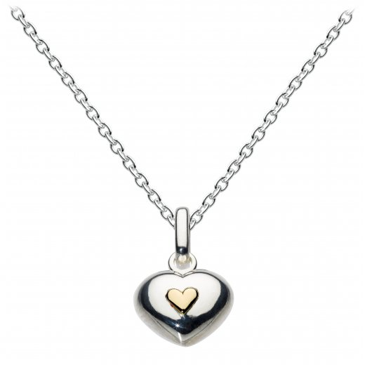Dew Sterling Silver Puff Heart With Mini Gold Heart Pendant