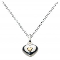 Sterling Silver Puff Heart With Mini Gold Heart Pendant