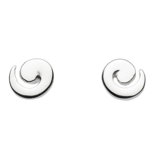 Dew Sterling Silver Spiral Stud Earrings