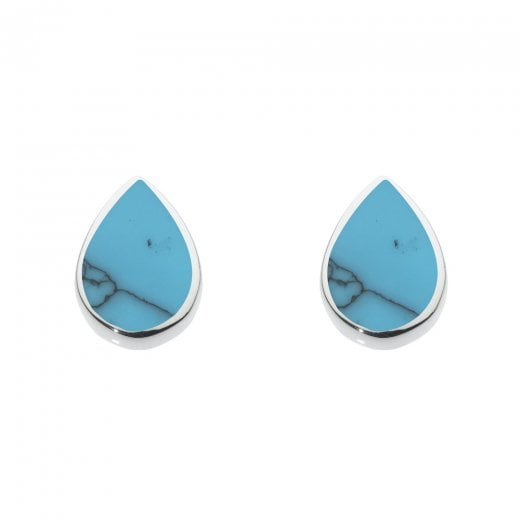 Dew Synthetic Turquoise Inlay Stud Earrings