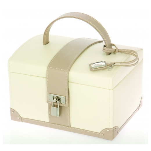 Dulwich Design Leather Jewellery Box With Pad Lock & Key