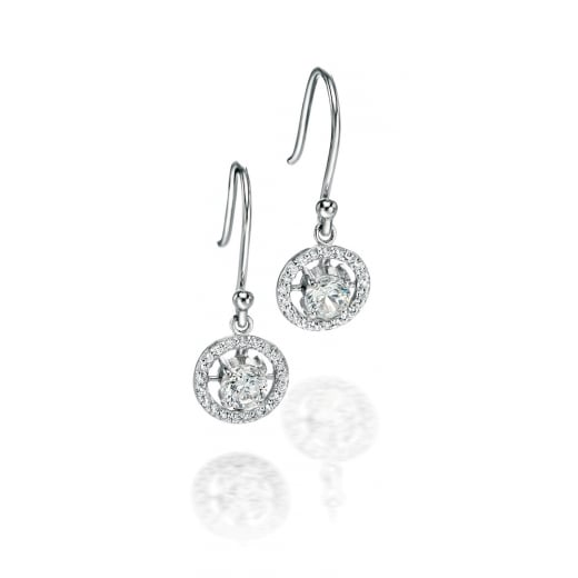 Fiorelli Silver Elsa - Fiorelli silver round CZ earrings with pave surround