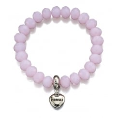 Baby Pink Stretch Bead Bracelet with Heart Charm