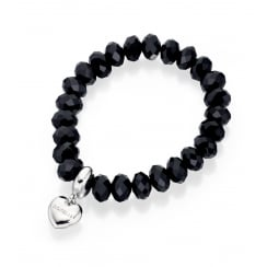 Black Faceted Bead Stretch Bracelet With Fiorelli Heart Charm