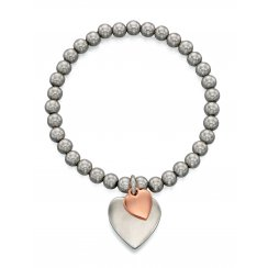 Caitlin - Rose and silver plate double heart stretch bracelet