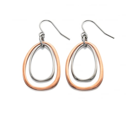 Fiorelli Costume CORINNA - ROSE AND SILVER OVAL CUT OUT EARRINGS