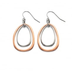 CORINNA - ROSE AND SILVER OVAL CUT OUT EARRINGS