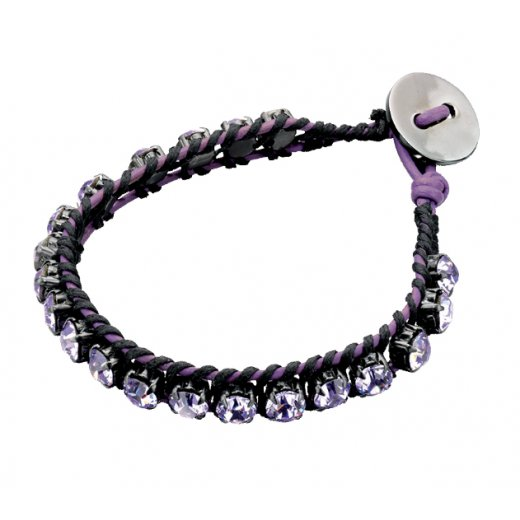 Fiorelli Costume Crystal & Leather Vantage Bracelet With Button Fastening