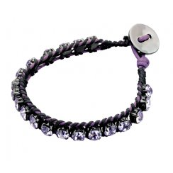 Crystal & Leather Vantage Bracelet With Button Fastening