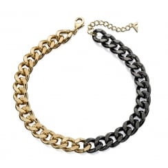 Gold and Powder Black Chain Necklace