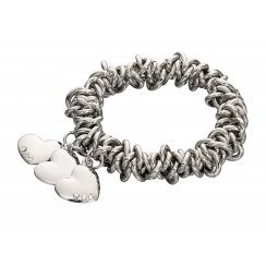 Costume Jewellery Scrunchie Stretch Bracelet With Three Heart Charms