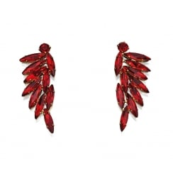Red Marquise Cluster Earrings