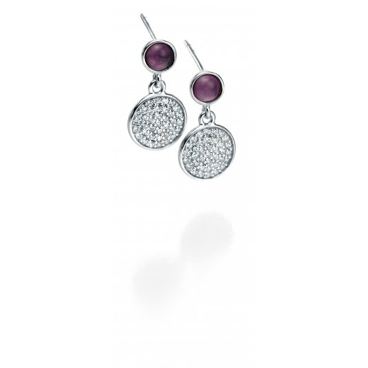 Fiorelli Silver Amethyst With CZ Pave Set Disc Earrings