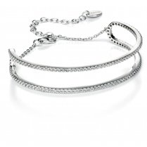 Fiorelli Silver CZ Pave Edge Bangle With Chain