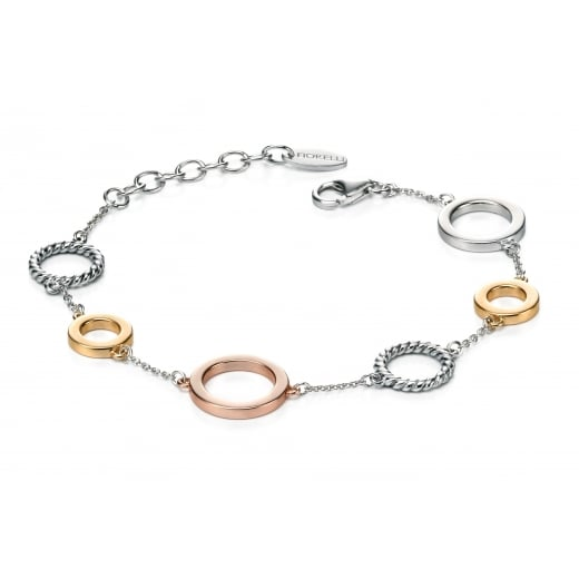 Fiorelli Silver Open Disc Bracelet With Yellow And Rose Gold Plating On Silver