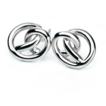 Polished Silver Knot Stud Earrings