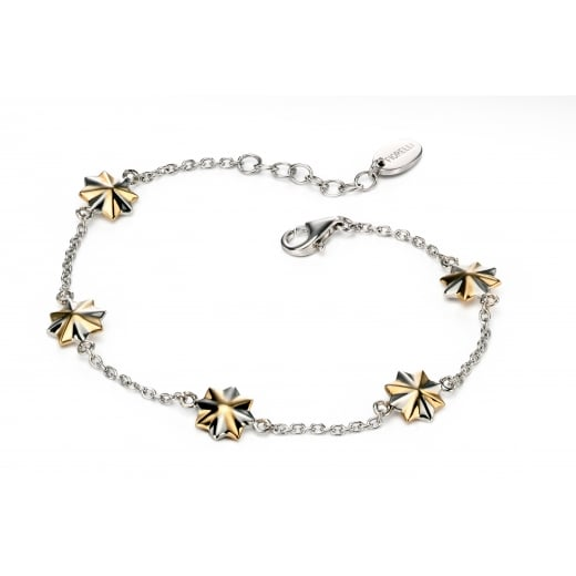 Fiorelli Silver Silver 3D two tone star station bracelet