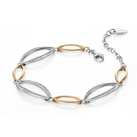 Fiorelli Silver Silver and gold plated marquise bracelet with pave CZ