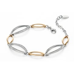 Silver and gold plated marquise bracelet with pave CZ