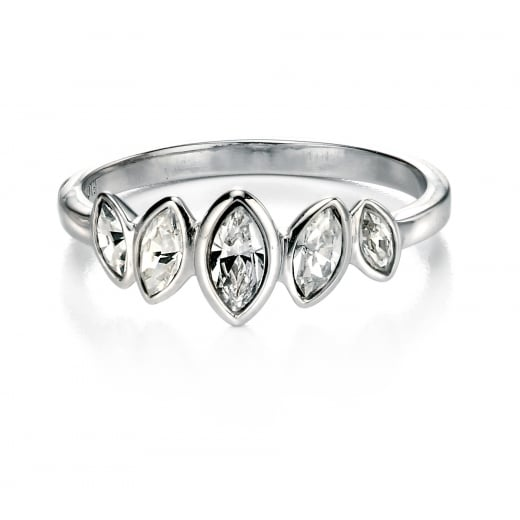 Fiorelli Silver Silver Clear Cubic Zirconia Cluster Marquise Row Ring
