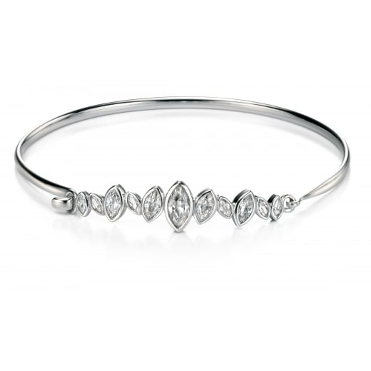Fiorelli Silver Silver clear CZ marquise cluster row open top bangle