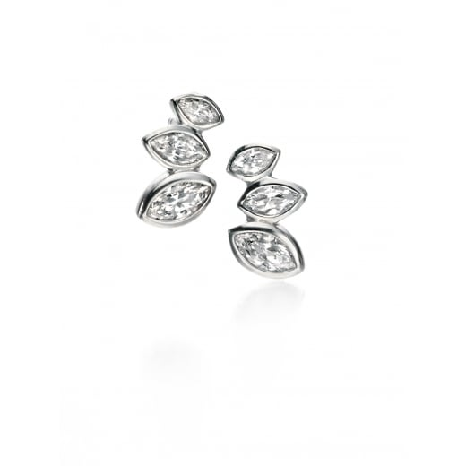 Fiorelli Silver Silver Clear CZ marquise cluster stud earrings