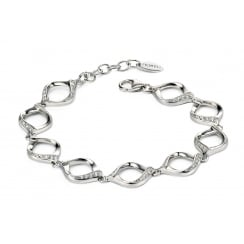 Silver cut out twist clear CZ bracelet