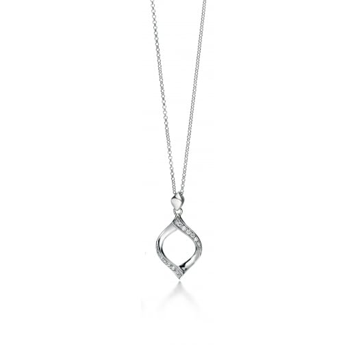 Fiorelli Silver Silver cut out twist drop clear CZ pendant 46-51 18-20""