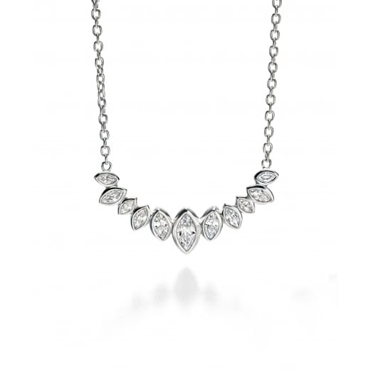 Fiorelli Silver Silver CZ crystal marquise cluster row necklace 41-46cm