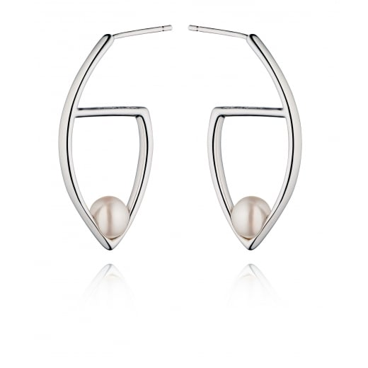 Fiorelli Silver Silver Freshwater Pearl Marquise Hoop Earrings