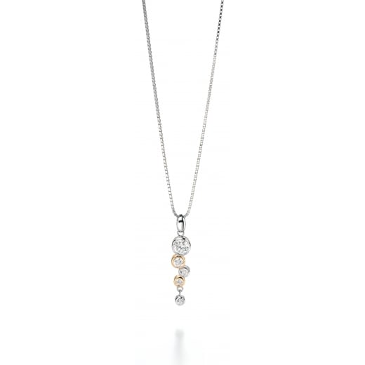 Fiorelli Silver Silver gold plated clear Cubic Zirconia drop pendant 41-46cm