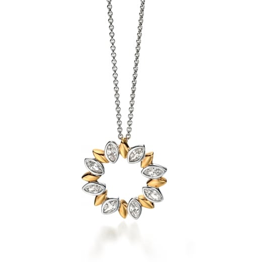 Fiorelli Silver Silver gold plated clear CZ marquise circle pendant 56-61cm