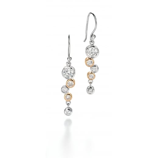 Fiorelli Silver Silver gold plated clear CZ waterfall earrings