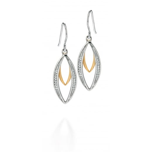 Fiorelli Silver Silver gold plated double marquise dangly earrings with CZ pave