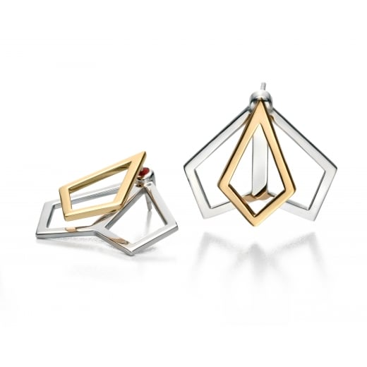 Fiorelli Silver Silver gold plated open kite jacket earrings