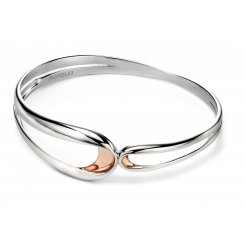 Silver Infinity Bangle With Rose Gold Plate Detail