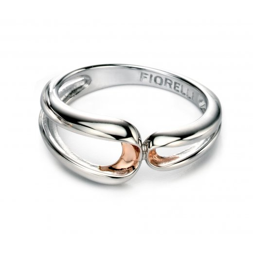 Fiorelli Silver Silver Infinity Ring With Rose Gold plate Detail