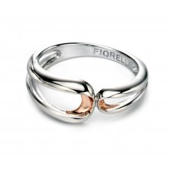 Silver Infinity Ring With Rose Gold plate Detail