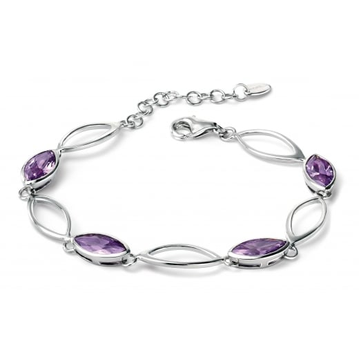 Fiorelli Silver Silver linked marquise bracelet with purple CZ
