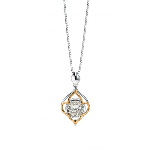 Fiorelli Silver Silver open shape CZ with gold detail pendant 41-46cm