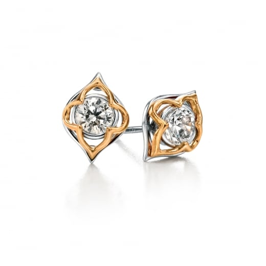 Fiorelli Silver Silver open shape CZ with gold detail stud earrings