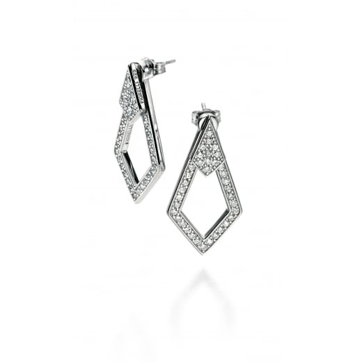 Fiorelli Silver Silver pave points earrings with back feature