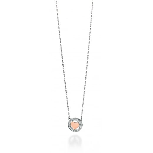 Fiorelli Silver Silver Pendant Pave Cubic Zirconia With A Rose Gold Plate Heart 40-45cm