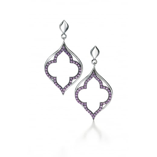 Fiorelli Silver Silver Purple CZ pave open leaf earrings